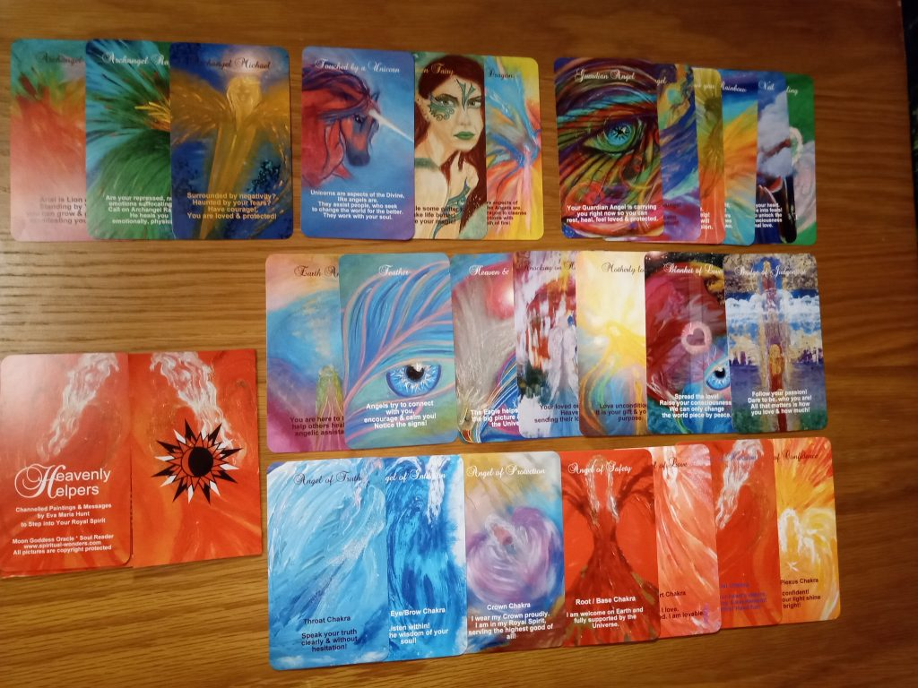 Heavenly Helpers Oracle deck by Eva Maria Hunt featuring my own channelled paintings www.spiritual-wonders.com